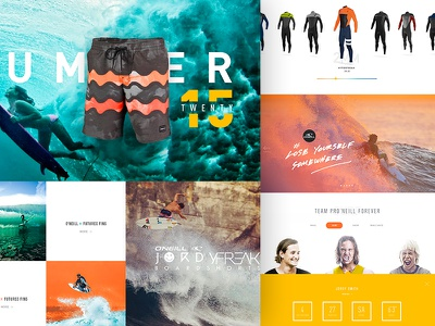 O'neill Rebirth V2 lifestyle landing interface photography web ui website grid color design homepage surf