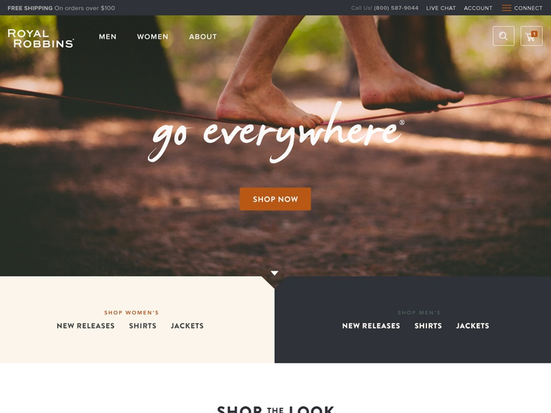 Royal Robbins Homepage brand lifestyle shop photography design homepage website outdoors clothing ecommerce