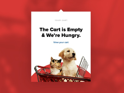 Empty Cart website design empty shopping dropdown flyout dog cat pet ecommerce cart ui