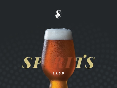 Spirits Club typography print draft design patter alcohol spirits monogram poster beer