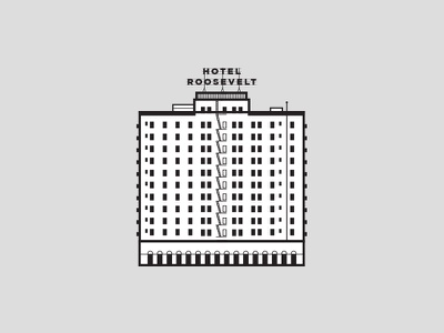 The Roosevelt Hotel Hollywood roosevelt minimal simple city los angeles hollywood architecture hotel illustration icon line art
