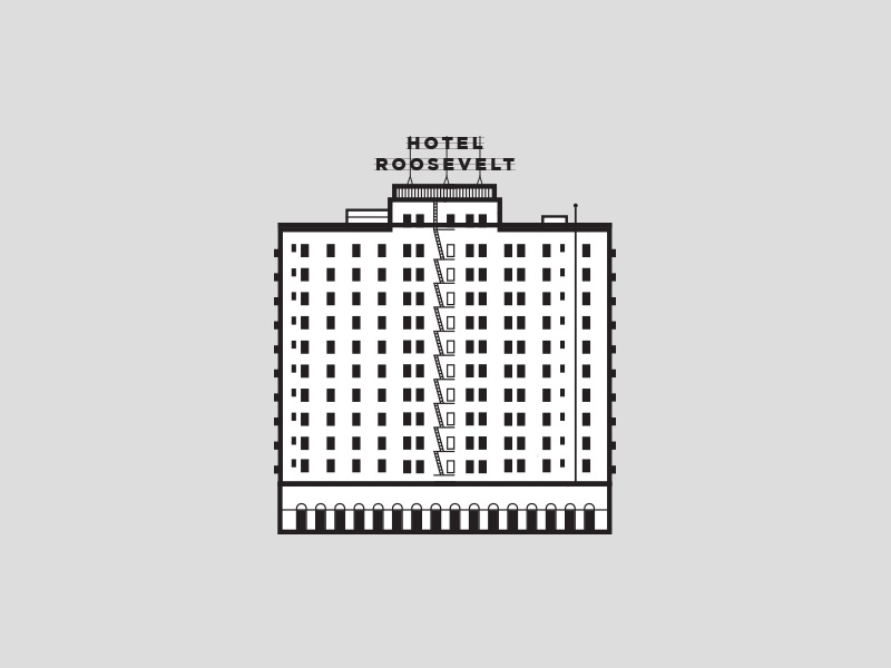 The Roosevelt Hotel Hollywood roosevelt minimal simple city los angeles hollywood architecture hotel illustration icon line art