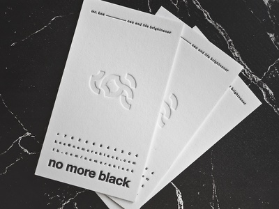 Business Cards - No More Black by KOS white black type print blind emboss design marble stationary business card