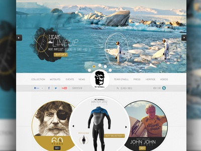 Oneill site surf wetsuit website water webpage oneill 50years watercolor ui circles
