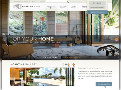 LaCantina Doors Website lacantina products gallery doors website web page webapge slider dropdown photography typography home