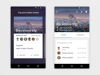 Trip Manager. Trip Details trip details trips material design android