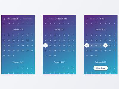 Flight Booking Concept. Calendar date picker blue travel flights return depart date calendar