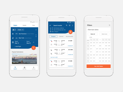 CheapOair. Rethink flight booking flow for one travel app payment details filters booking flights concept travel
