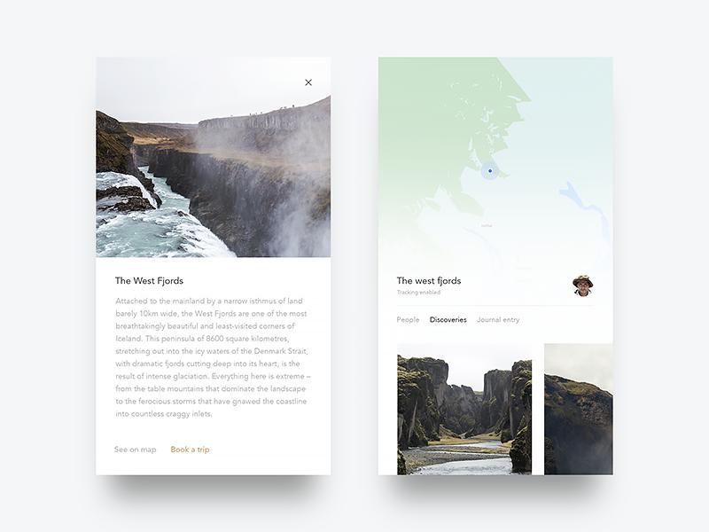 Wayfarer, Details and Map app wild explore reading water booking ocean nature minimal sleek ux ui