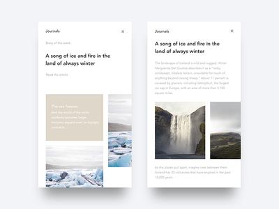 Story of the week - Journal dailyui iceland nature travel journal clean minimal sleek interface ux ui
