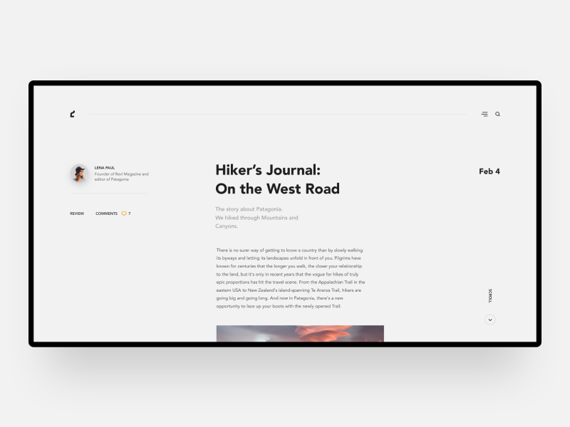 Hiker's Journal - Travel website web blog agency vocation travel minimal interface design ux ui