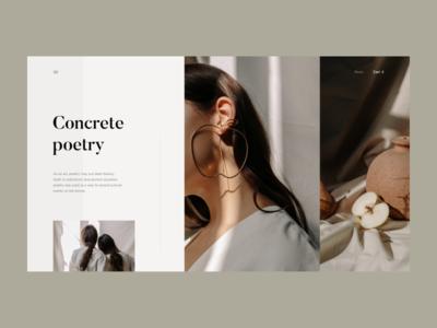 Concrete Poetry, Microsite website clean microsite web shop fashion minimal interface ux ui