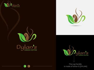 Dylan s green coffee coffee shop bean logo coffee bean brown logo coffee smoke smoke logo cup logo green logo leaf logo green coffee logo coffee logo graphic design illustration gradient logo branding vector dribbble colorful branding design logo