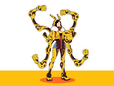 Mujer Cyborg design illustration