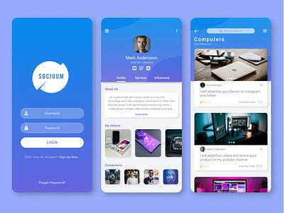 Sociuum App - Influencers & Marketing marketing mobile design ux ui app logo