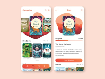 Story Book App illustration flat icon typography prototype mobile ux ui app design