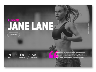 DailyUI Challenge 006 runner running pink black and white user profile user profile sports clean ui dailyui