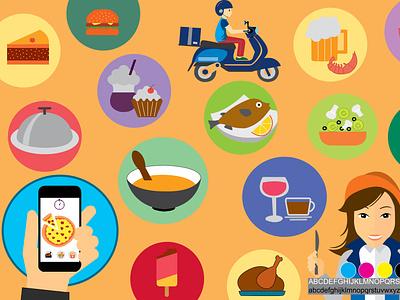 Mood Board for a Food application illustration uiux design adobeindesign indesign uxd uix uxdesign ux moodboards application food moodboard