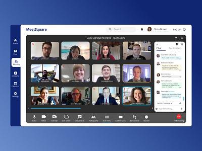 MeetSquare - A video conferencing application figma design figmadesign application conference video figma design ui uix uiux