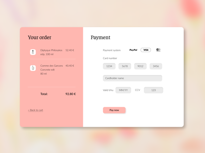 Daily UI 002. Payment form checkout form fragrances payment form design uidesign ui dailyui dailyui002