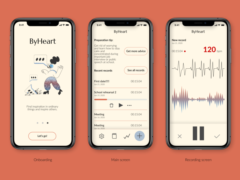 ByHeart. Heartrate tracker product design app concept concept heartrate app uidesign ui