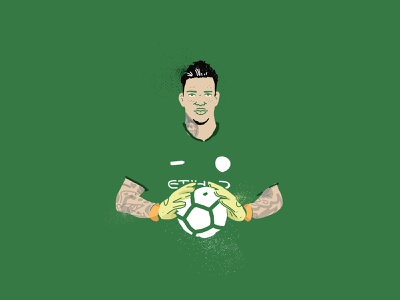 Ederson Morales - Goalkeeper portrait design illustrator bamboo wacom brush premier league premier pro manchester city manchester football icon artwork illustration graphicdesign icon