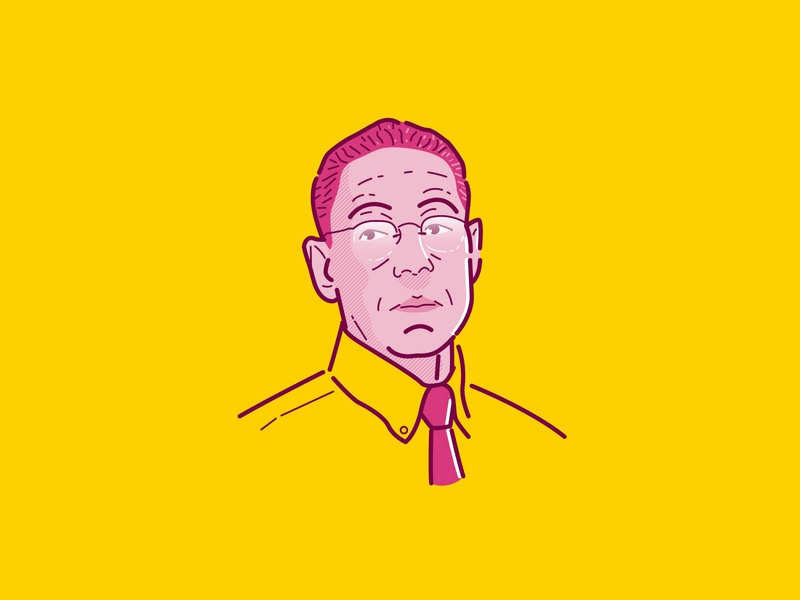 Gus Fring charachters outline yellow netflix breaking bad breakingbad better call saul icon a day illustrator badge branding icon artwork design logo vector flat illustration graphicdesign icon