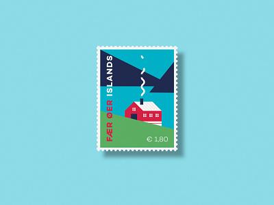 Fær Øer Islands - Postage Stamp minimal geometry stamp badge logo vector flat illustration graphicdesign icon