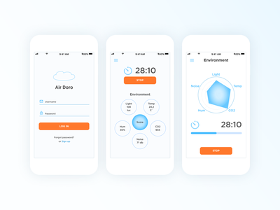 Air Doro mobile login screen timer lifework life health healthcare balance work app design application logo cta digital app ux ui design environment pomodoro