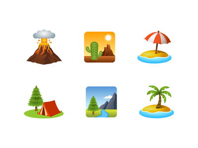 Emoji: place-geographic geographic place emoji illustration icon national park island desert camping volcano beach