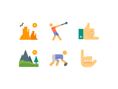 Color style icons hands hand mountain landscape desert nature sports svg vector ui design color illustration icon