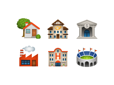 Emoji: place-building factory hotel bank post office house stadium building emoji vector design color illustration icon