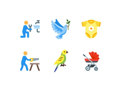 Color style icons baby carriage clothing plumber sawing man worker baby bird ux ui vector design color illustration icon