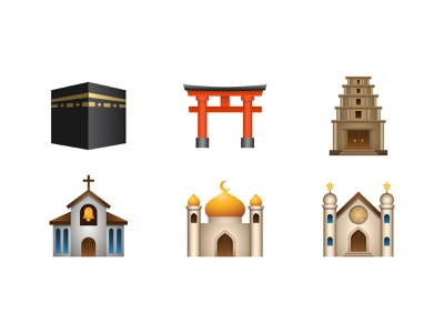 Emoji: place-religious kaaba shinto shrine synagogue hindu temple mosque church emoji vector color illustration icon