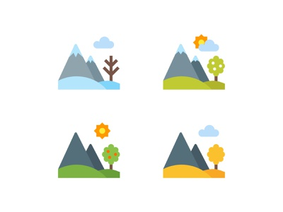 Seasons Landscape autumn summer spring winter landscape seasons design vector color illustration icon