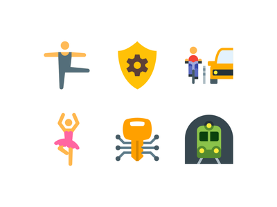 Сolor style icons ui ux emoji design vector color illustration icon ballerina train security