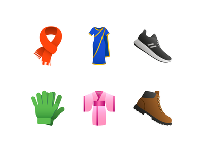 Emoji: Clothing cloth shoes boots dress clothing logo ux ui emoji design vector illustration color icon