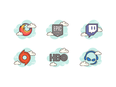Cloud: logos logosai epic games teamspeak hbo origin twitch firefox branding ux ui design vector color illustration icon logotype logo logos