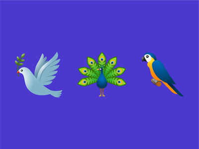Birds emoji ux ui design vector color illustration icon icons emoji peacock parrot pigeon birds bird