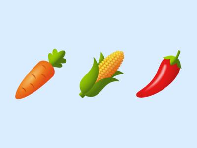 Emoji: vegetables carrot pepper corn vegetables logo ui ux emoji design vector color illustration icon