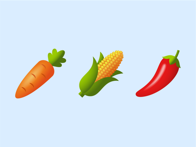 Emoji: vegetables carrot pepper corn vegetables logo ui ux emoji design vector color illustration icon
