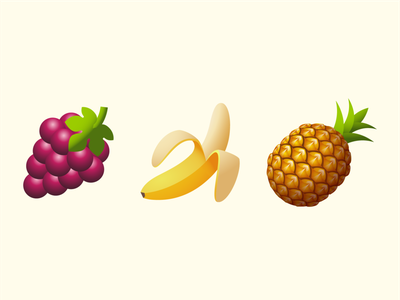 Emoji: fruits grape pinapple banana fruits logo ux ui emoji design vector color illustration icon
