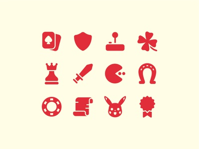 Fluent System Filled : Gaming prize paper joystick pacman clover pokemon sword horseshoe shield casino cards gaming logo ux ui design vector color icon