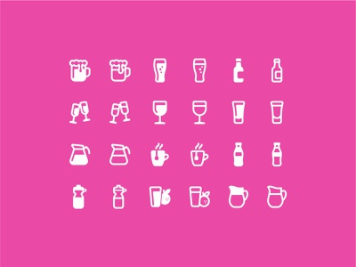 Fluent System: Drinks juice milk water tea coffee coca-cola wine beer vodka drinks ux ui design vector illustration icon