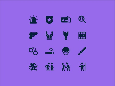 Fluent Systems Filled: Crime prison gun weed joint thief police crime ux ui design color vector icon