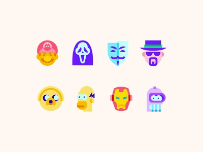 Color Glass icons: Characters scream movie gaming mario ironman futurama bender adventure time homer cartoon simpsons character logo ux ui design color vector illustration icon