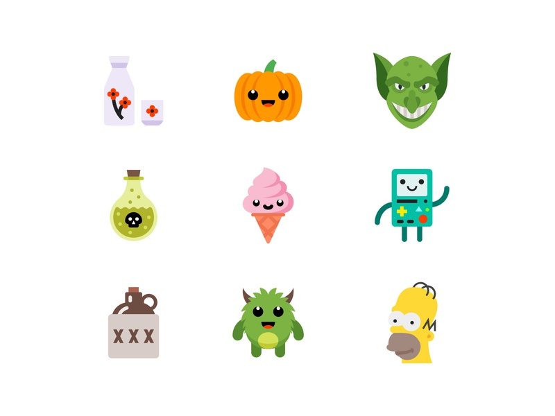 Color style icons simpsons poison sake pumpkin moonshine illustration icon icecream graphicdesign goblin flat design cute color bmo