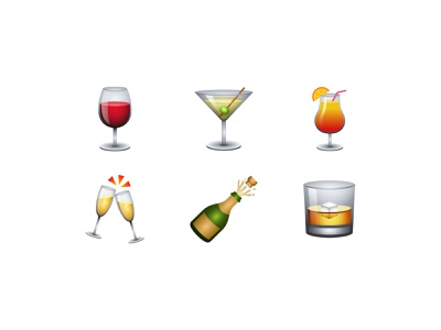 Vector Emoji Collection - Drinks illustration vector icon champagne cocktail wine whiskey emoji set drinks emoji