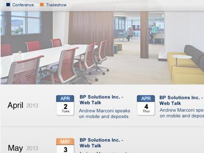 Events Page Design Mockup calendar icon events gradient blue orange months design