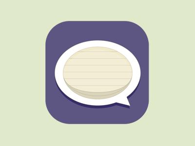 App Icon Concept app icon speech bubble paper purple flat
